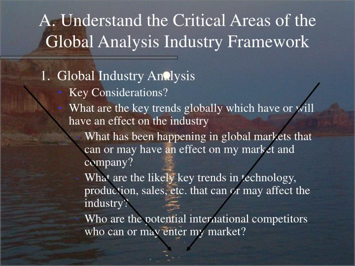 A. Understand the Critical Areas of the Global Analysis Industry Framework