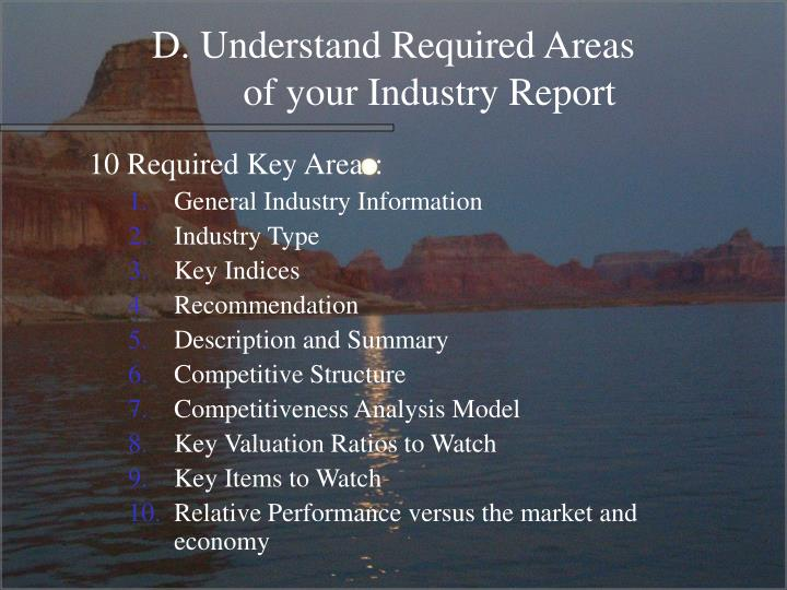 D. Understand Required Areas