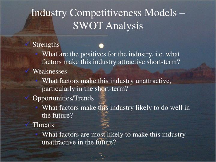 Industry Competitiveness Models – SWOT Analysis