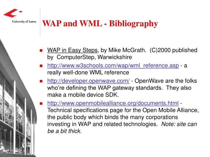 WAP and WML - Bibliography