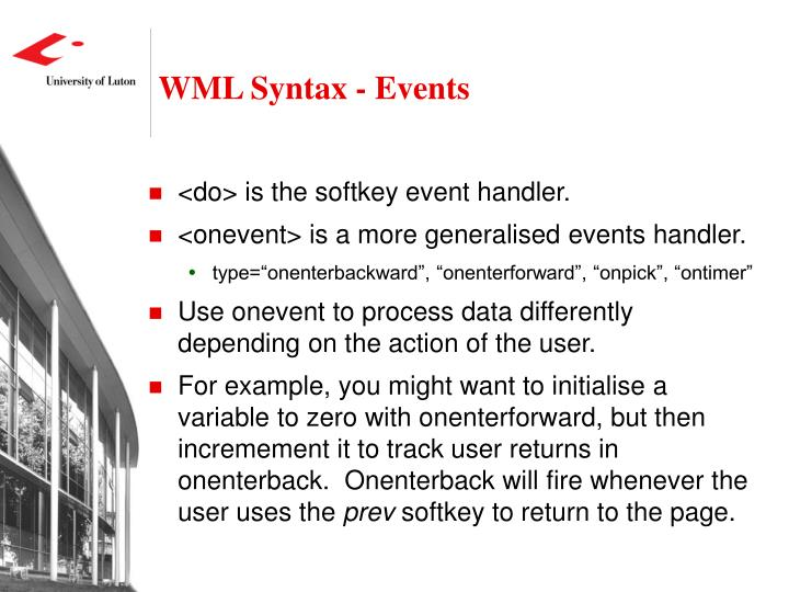 WML Syntax - Events