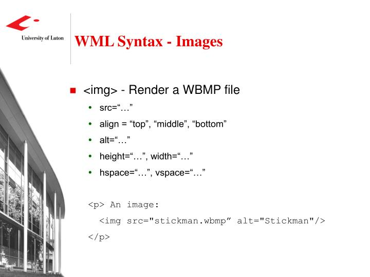 WML Syntax - Images