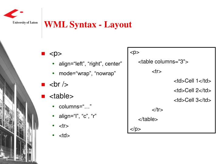 WML Syntax - Layout
