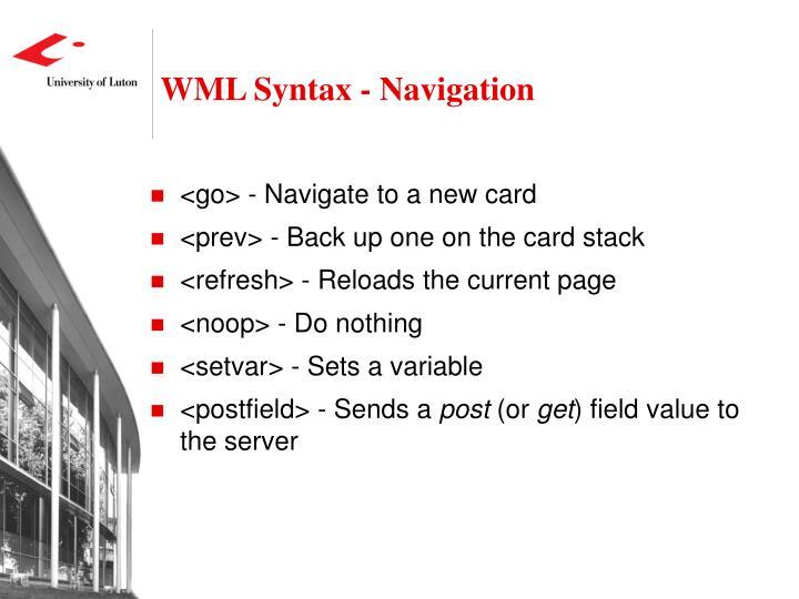 WML Syntax - Navigation