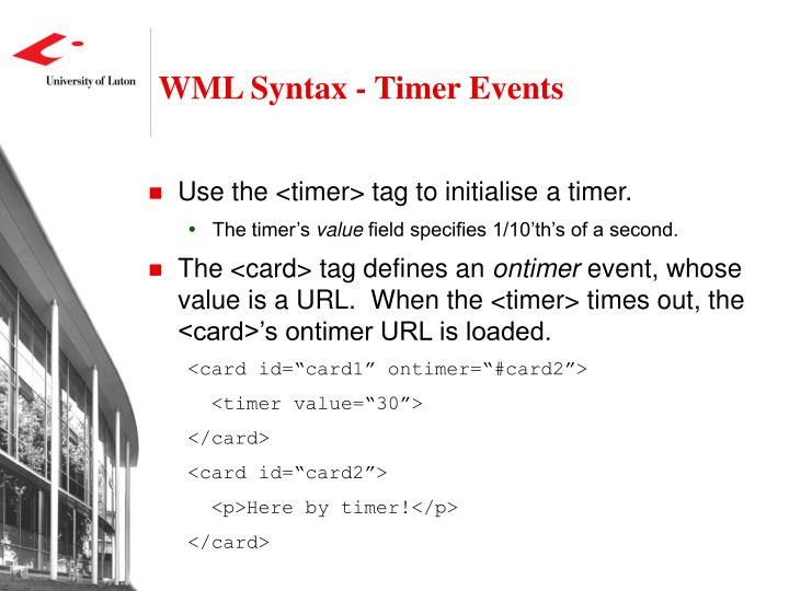 WML Syntax - Timer Events