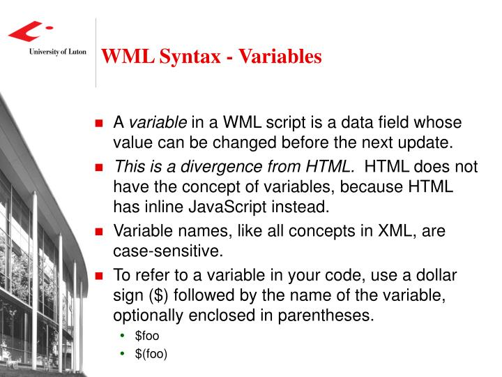 WML Syntax - Variables