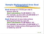 sample distinguished area goal calculations