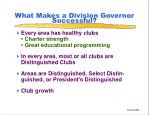 what makes a division governor successful