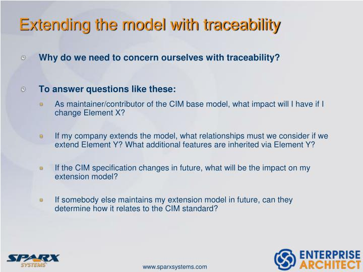 Extending the model with traceability