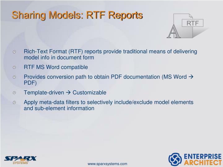 Sharing Models: RTF Reports