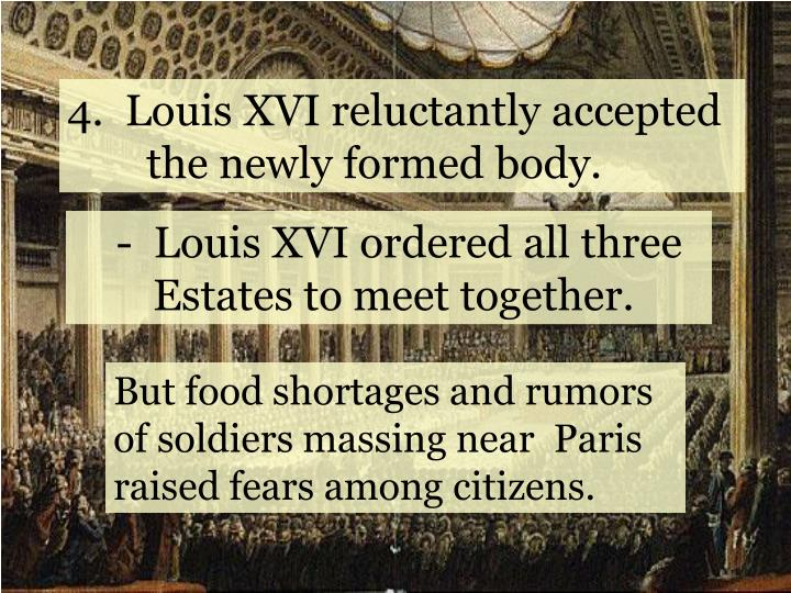 4.  Louis XVI reluctantly accepted  the newly formed body.