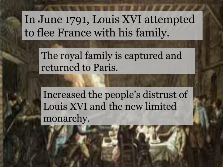 In June 1791, Louis XVI attempted to flee France with his family.