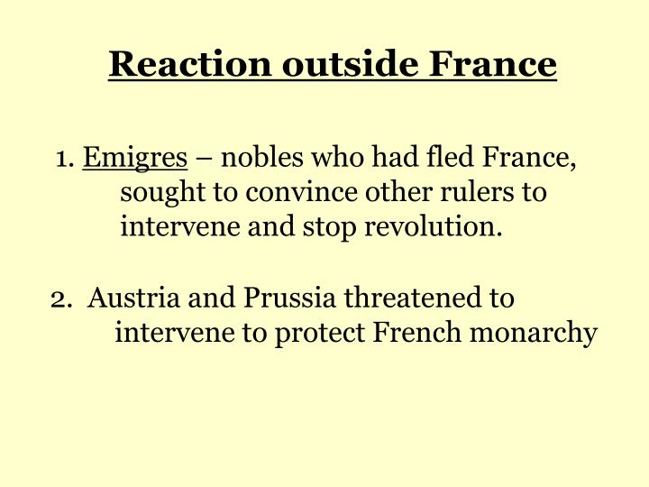 Reaction outside France