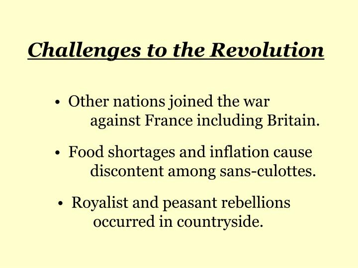 Challenges to the Revolution
