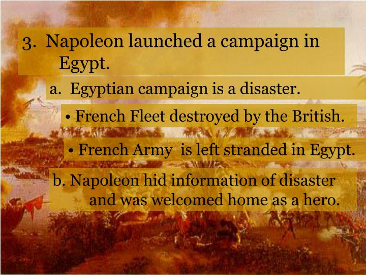 3.  Napoleon launched a campaign in Egypt