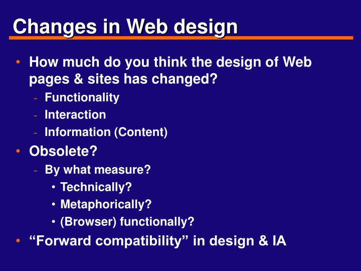 Changes in Web design