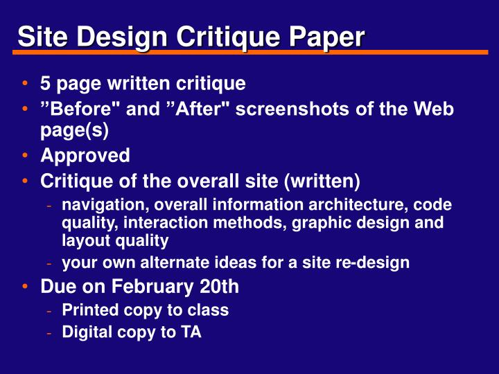 Site Design Critique Paper