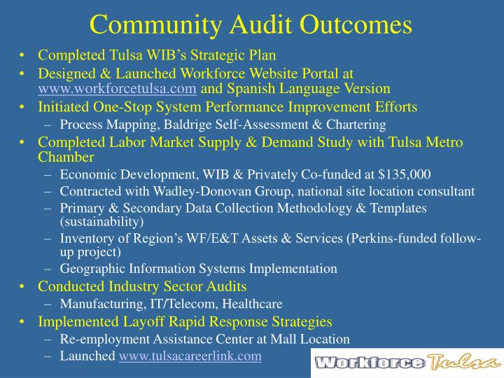 Community audit outcomes