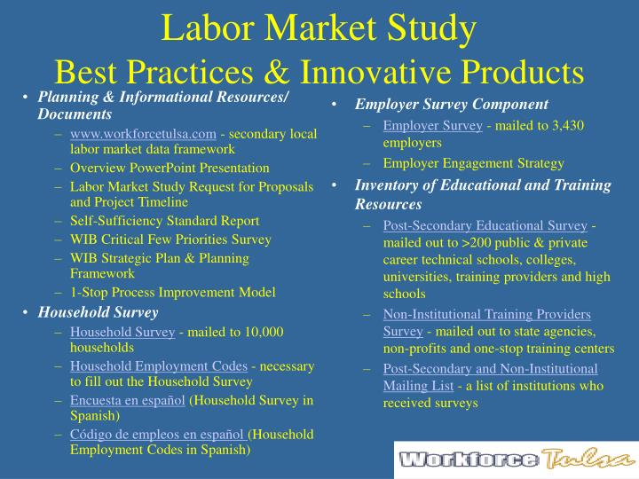 Labor market study best practices innovative products