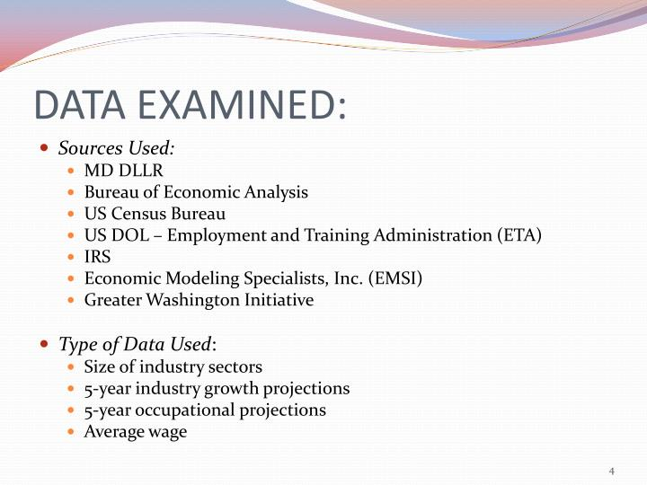 DATA EXAMINED: