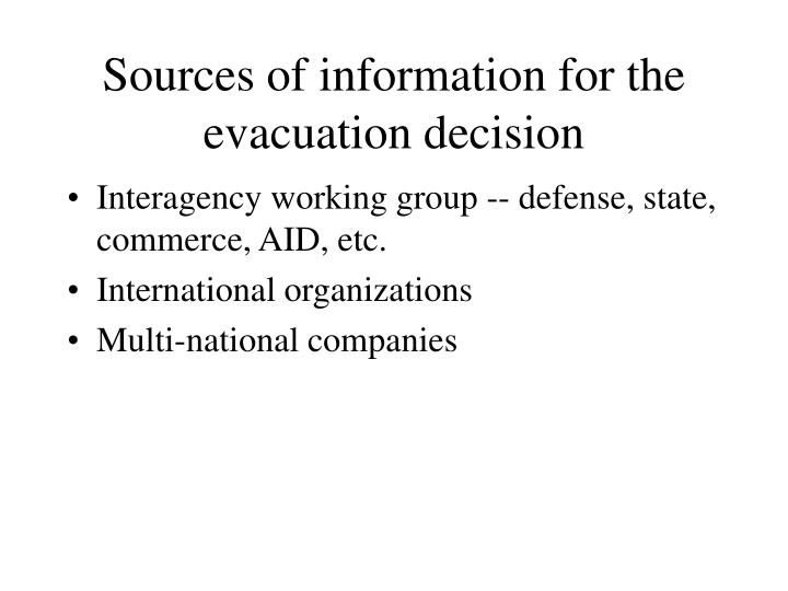 Sources of information for the evacuation decision