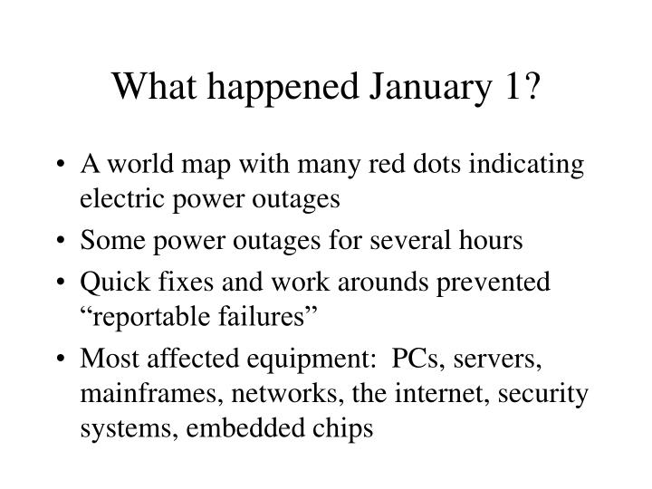 What happened January 1?