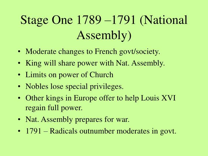 Stage one 1789 1791 national assembly