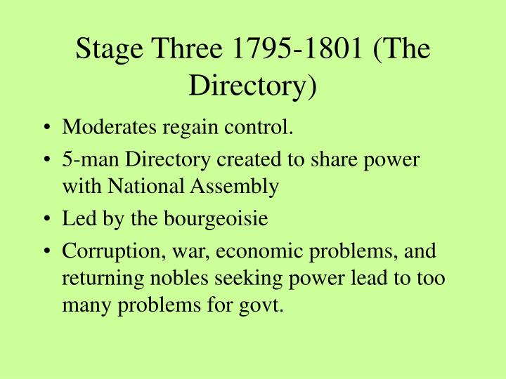 Stage Three 1795-1801 (The Directory)