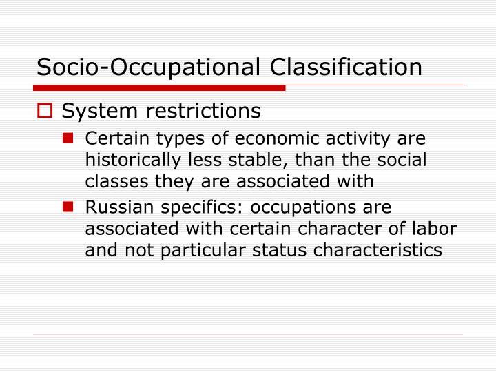 Socio-Occupational Classification