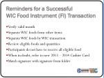 reminders for a successful wic food instrument fi transaction