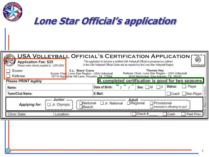 Lone Star Official's application