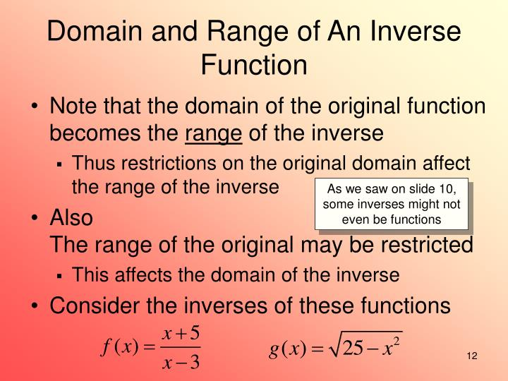 Domain and Range of An Inverse Function