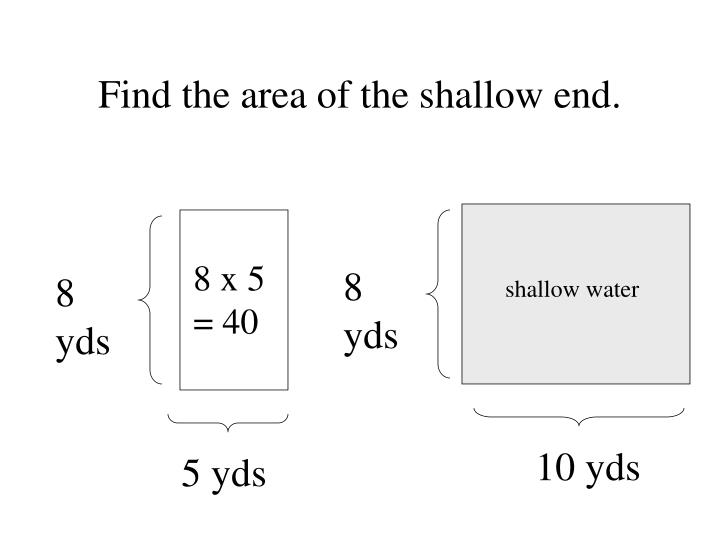 Find the area of the shallow end.