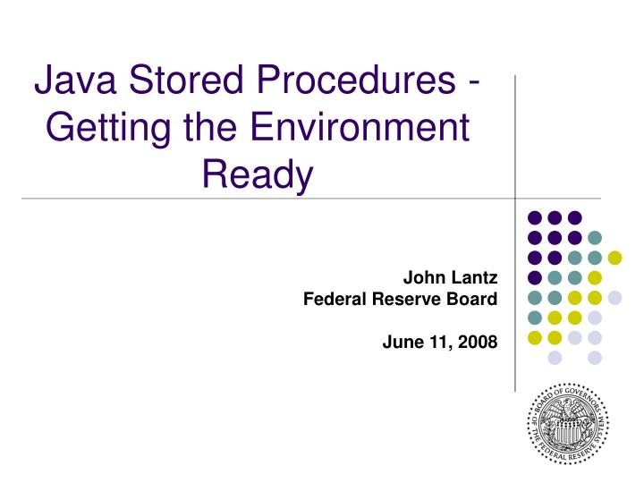 Java Stored Procedures - Getting the Environment Ready