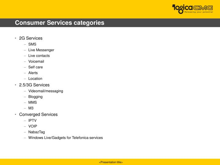 Consumer Services categories
