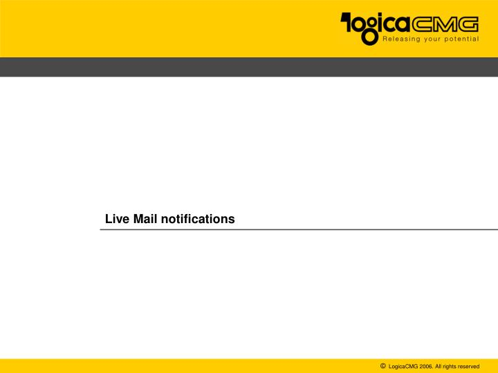 Live Mail notifications