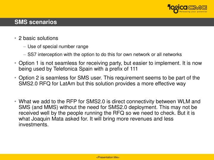 SMS scenarios