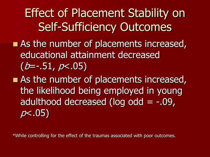 Effect of Placement Stability on Self-Sufficiency Outcomes