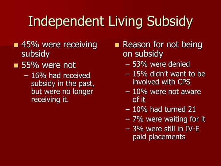 45% were receiving subsidy