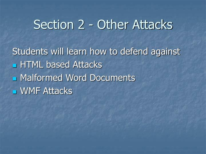 Section 2 - Other Attacks