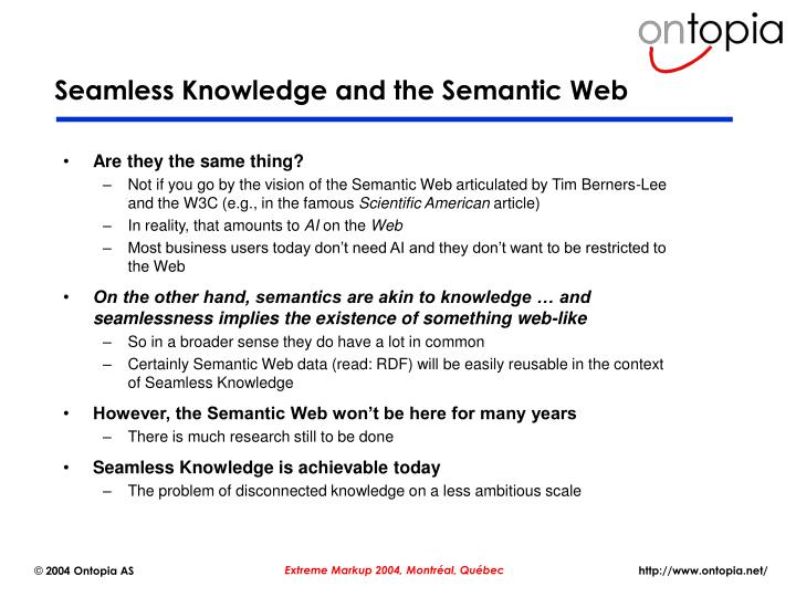 Seamless Knowledge and the Semantic Web