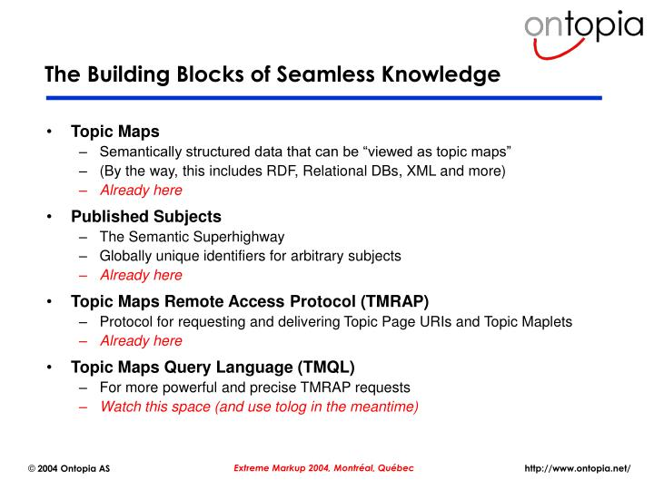 The Building Blocks of Seamless Knowledge