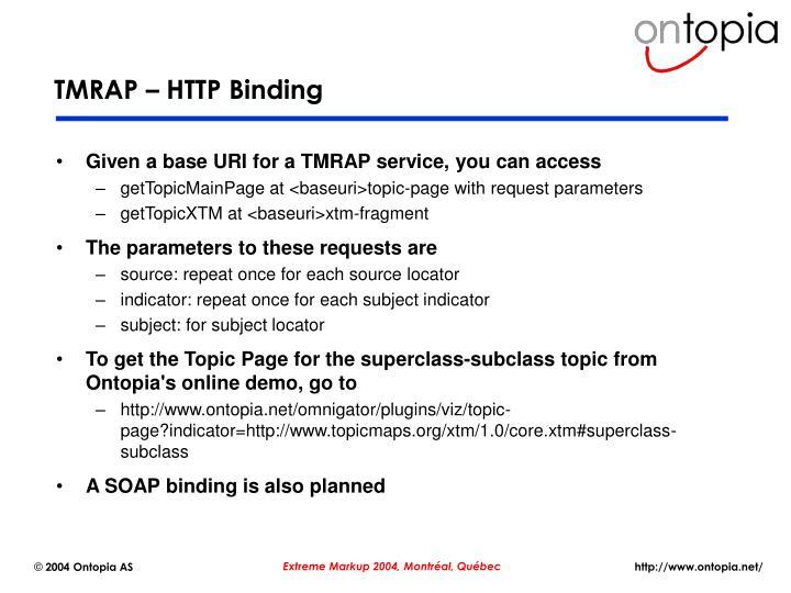 TMRAP – HTTP Binding