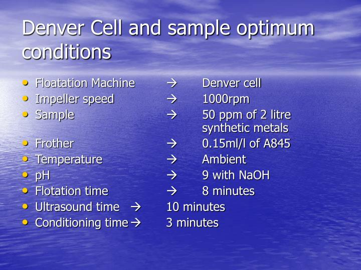 Denver Cell and sample optimum conditions