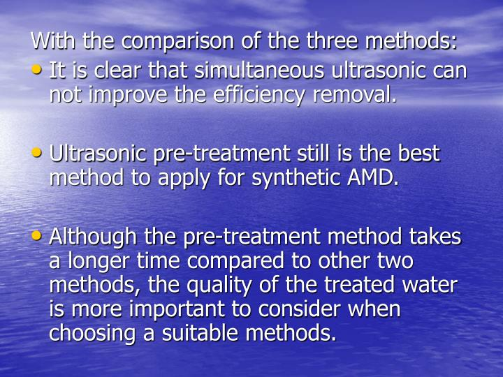 With the comparison of the three methods: