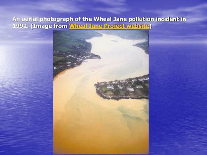 An aerial photograph of the Wheal Jane pollution incident in 1992. (Image from