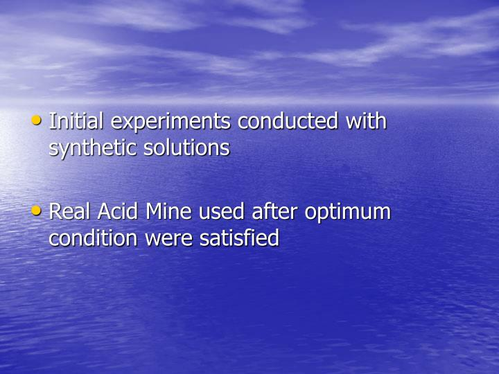 Initial experiments conducted with synthetic solutions
