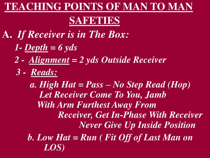 TEACHING POINTS OF MAN TO MAN