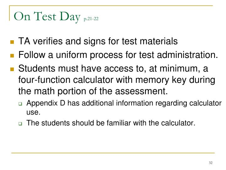 On Test Day