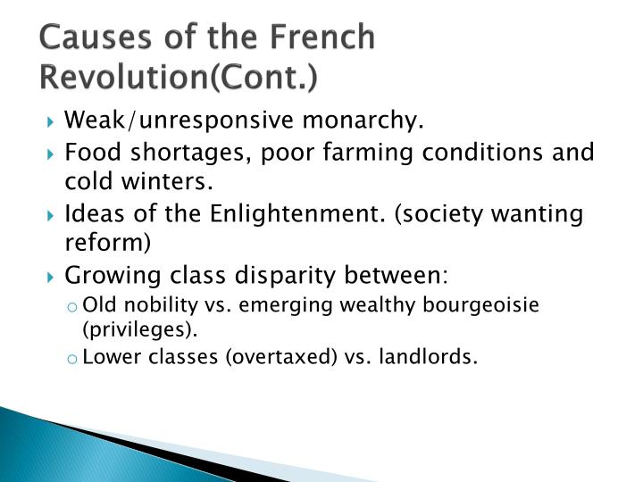 Causes of the French Revolution(Cont.)